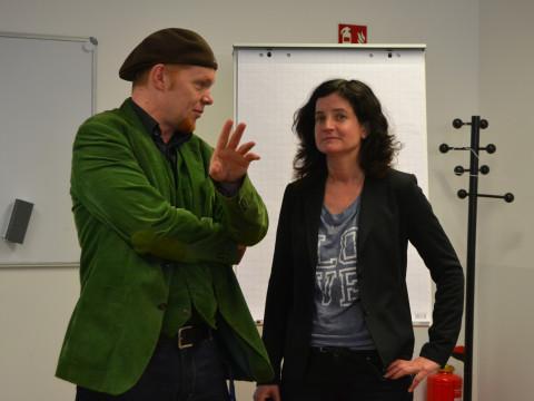 Miriam Tebert (WDR) im Gespräch mit Prof. Dr. Hektor Haarkötter