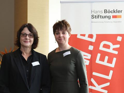 HMKW-Professorin Dr. Bettina Lendzian (li.) mit Anne Knauf, Referentin der Hans-Böckler-Stiftung.